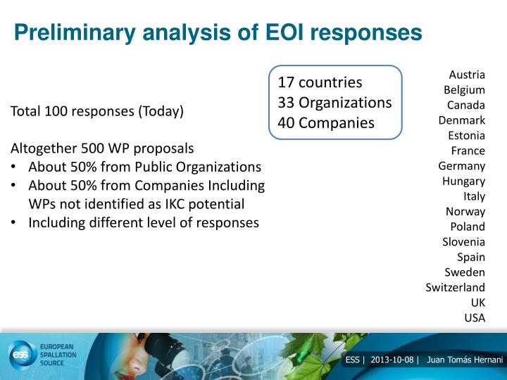 Preliminary analysis of EOI responses