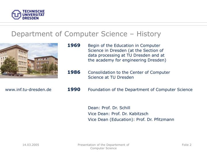 Department of Computer Science – History