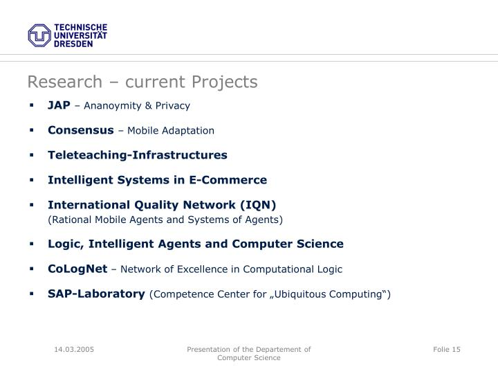Research – current Projects