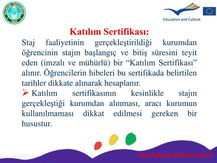 Katılım Sertifikası: