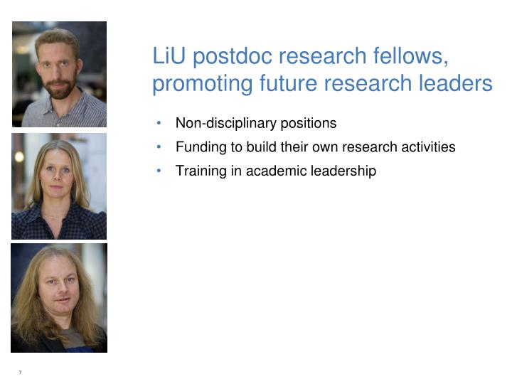 LiU postdoc research fellows, promoting future research leaders