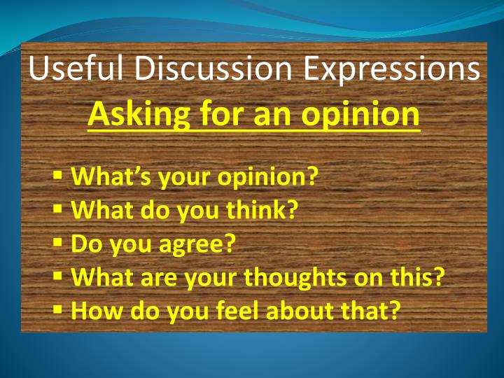 Useful Discussion Expressions