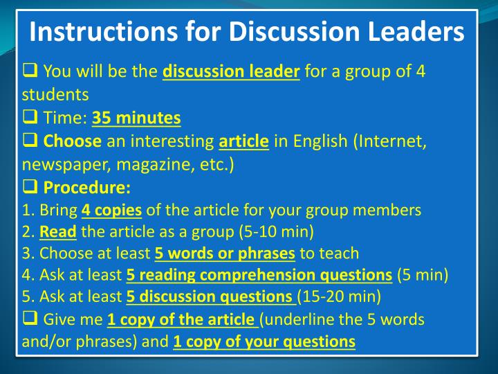 Instructions for Discussion Leaders