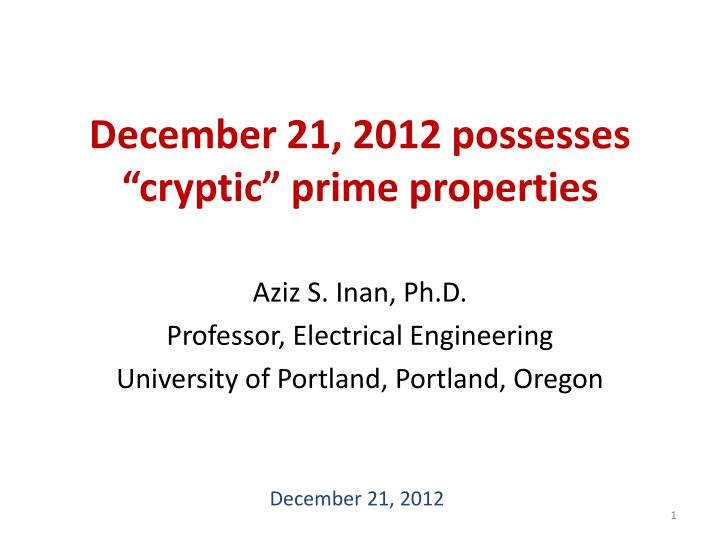 December 21 2012 possesses cryptic prime properties