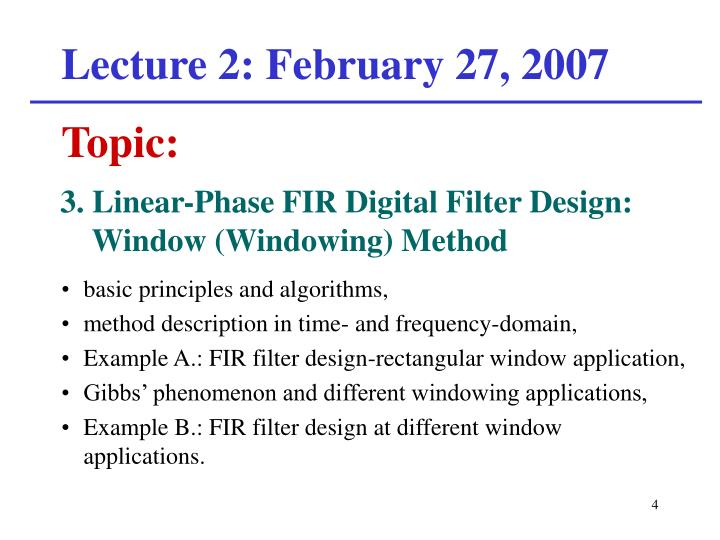 Lecture 2: February 27, 2007