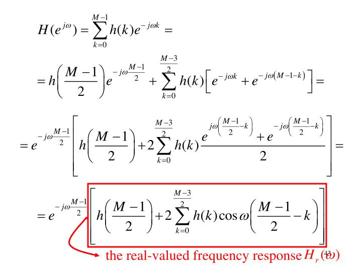 the real-valued frequency response