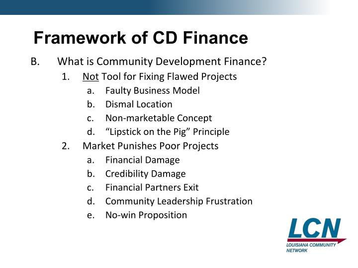 Framework of CD Finance