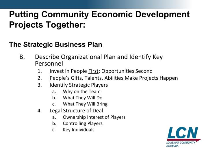 Putting Community Economic Development Projects Together: