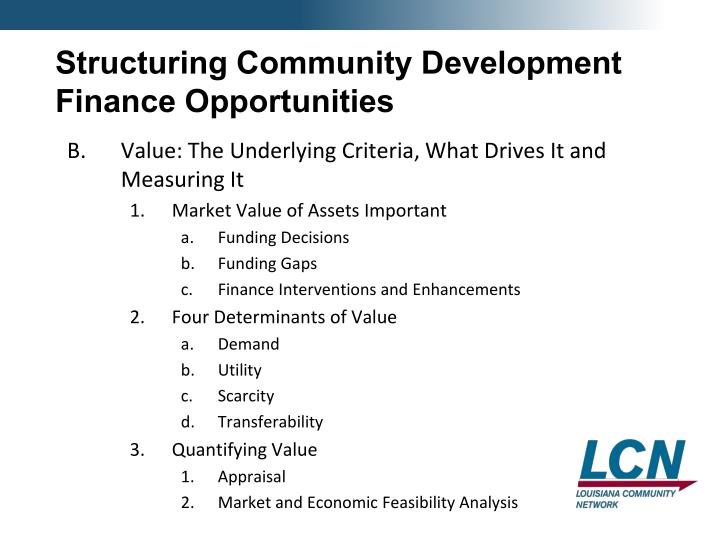 Structuring Community Development Finance Opportunities
