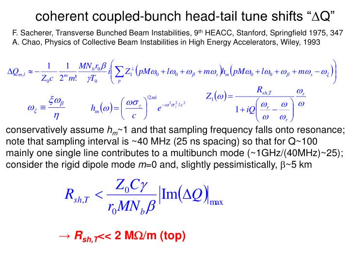 """coherent coupled-bunch head-tail tune shifts """""""