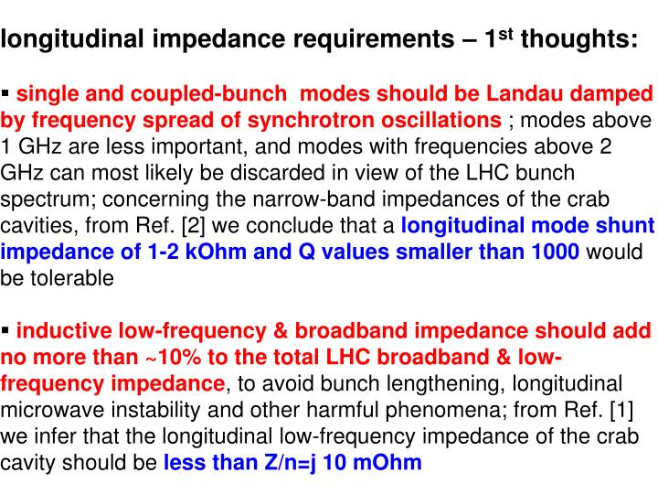 longitudinal impedance requirements – 1