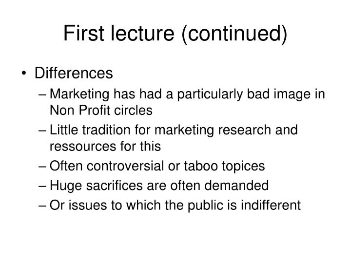 First lecture (continued)