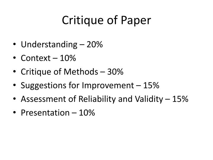 Critique of Paper