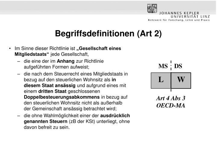 Begriffsdefinitionen (Art 2)