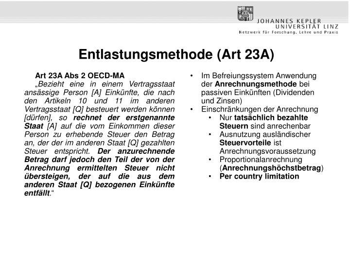 Entlastungsmethode (Art 23A)