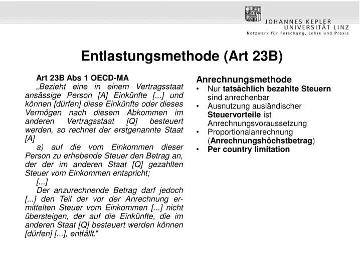 Entlastungsmethode (Art 23B)