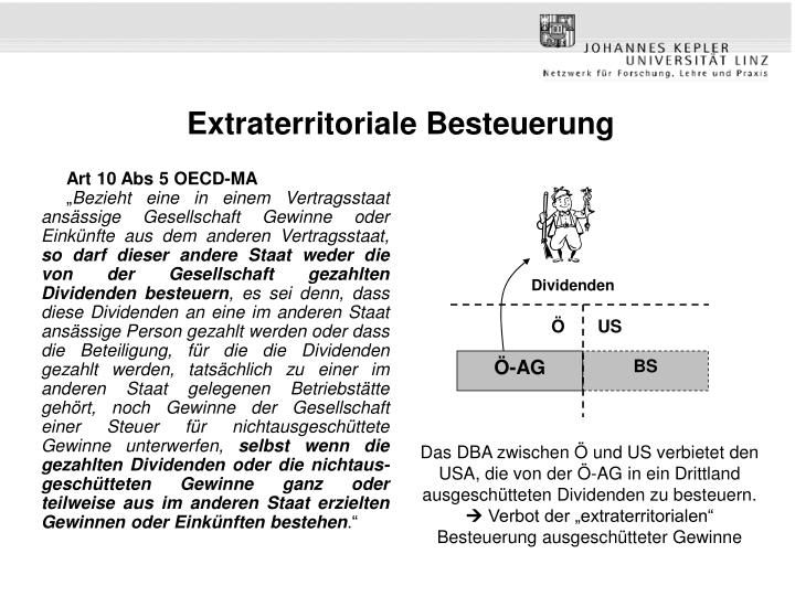 Extraterritoriale Besteuerung