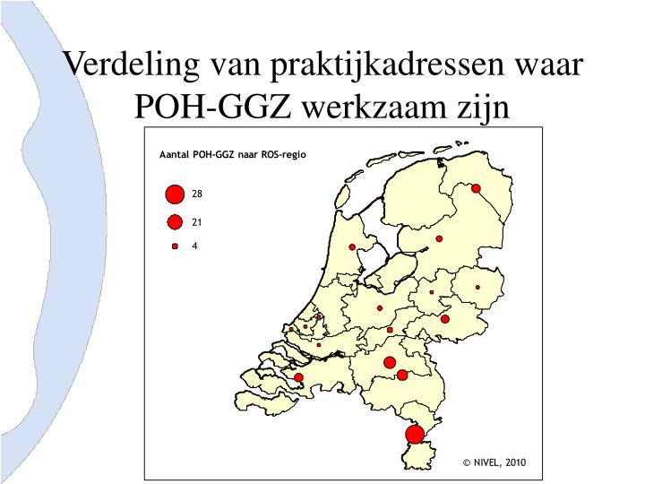 Verdeling van praktijkadressen waar POH-GGZ werkzaam zijn