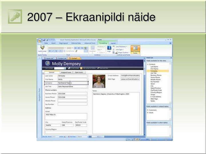 2007 – Ekraanipildi näide