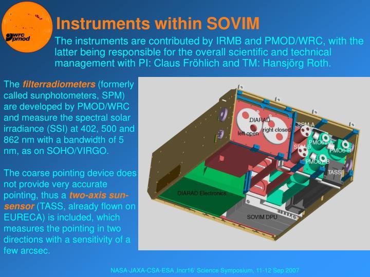 Instruments within SOVIM