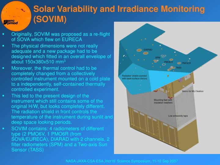 Solar Variability and Irradiance Monitoring (SOVIM)