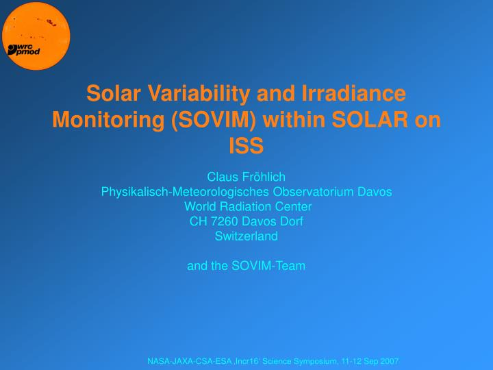 Solar variability and irradiance monitoring sovim within solar on iss