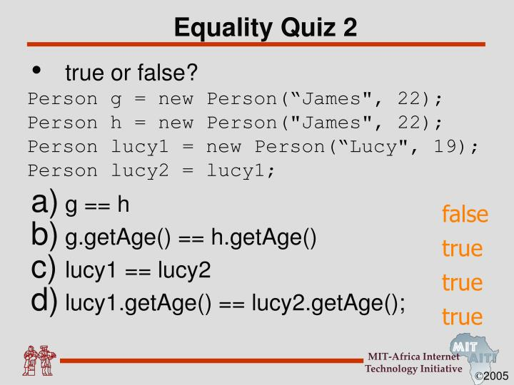Equality Quiz 2