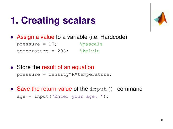1. Creating scalars