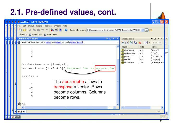 2.1. Pre-defined values, cont.