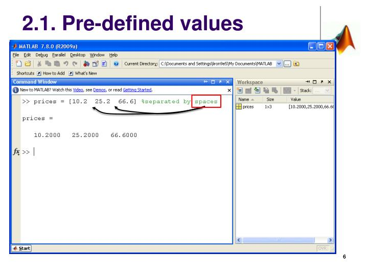 2.1. Pre-defined values