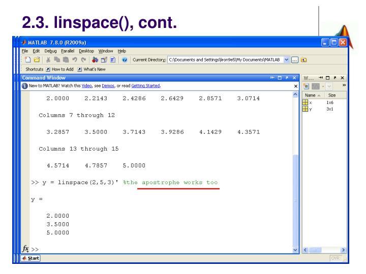 2.3. linspace(), cont.
