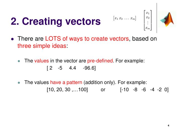2. Creating vectors