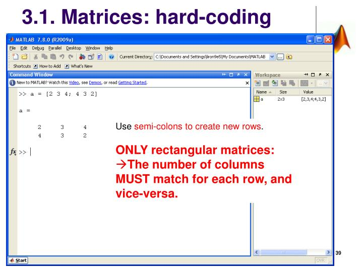 3.1. Matrices: hard-coding