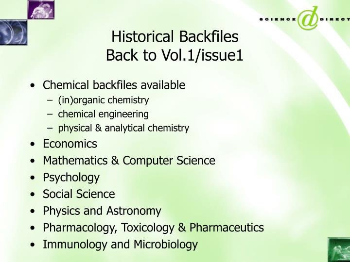 Historical Backfiles