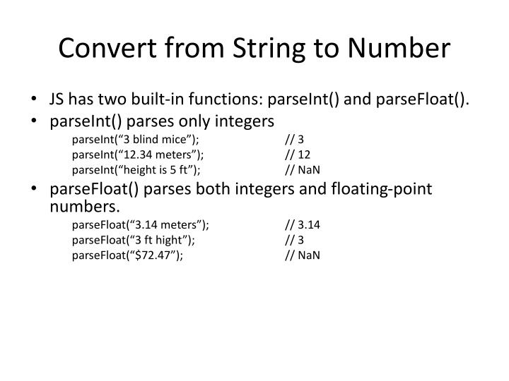 Convert from String to Number