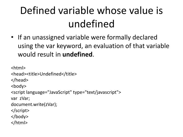 Defined variable whose value is undefined