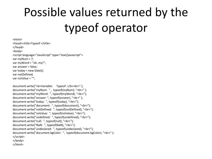 Possible values returned by the typeof operator