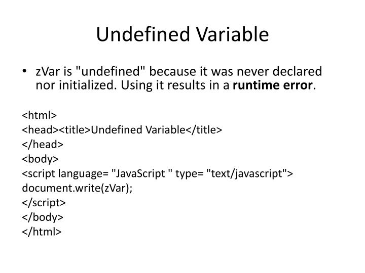 Undefined Variable