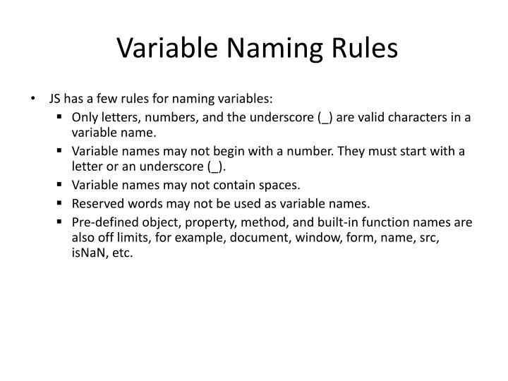 Variable Naming Rules