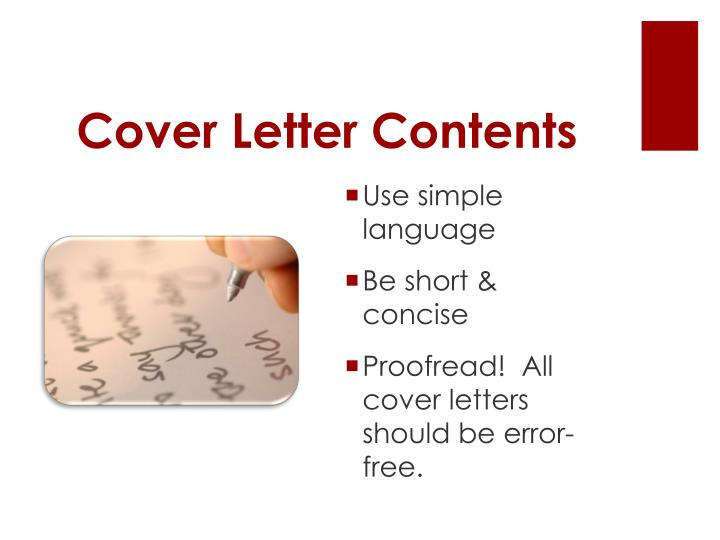 Cover Letter Contents