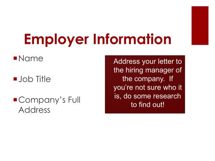 Employer Informatio