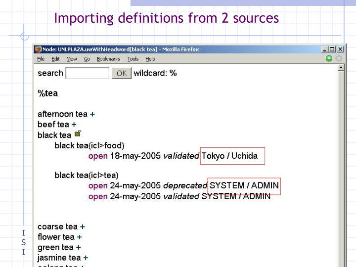 Importing definitions from 2 sources
