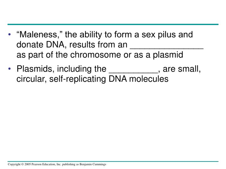 """Maleness,"" the ability to form a sex pilus and donate DNA, results from an _______________ as part of the chromosome or as a plasmid"