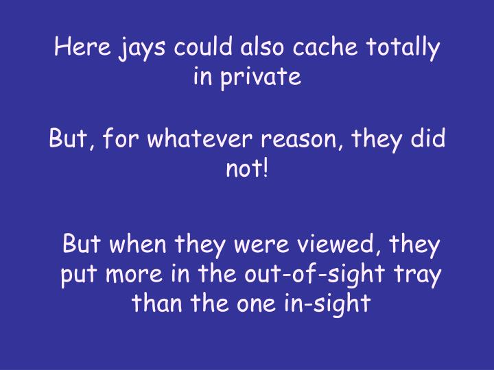 Here jays could also cache totally in private
