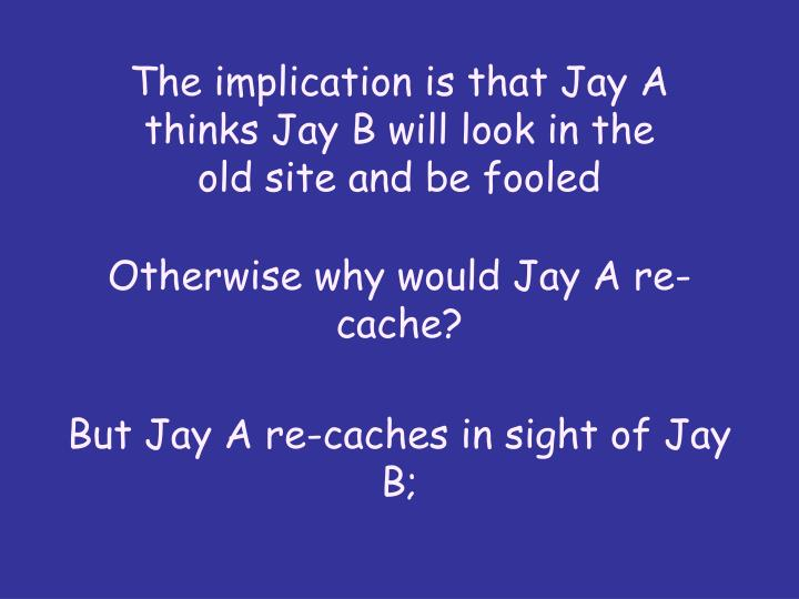 The implication is that Jay A thinks Jay B will look in the old site and be fooled