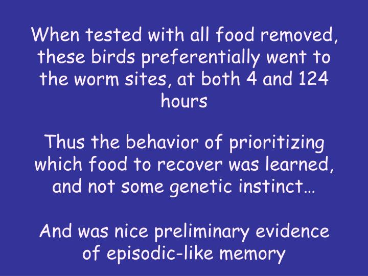When tested with all food removed, these birds preferentially went to the worm sites, at both 4 and 124 hours