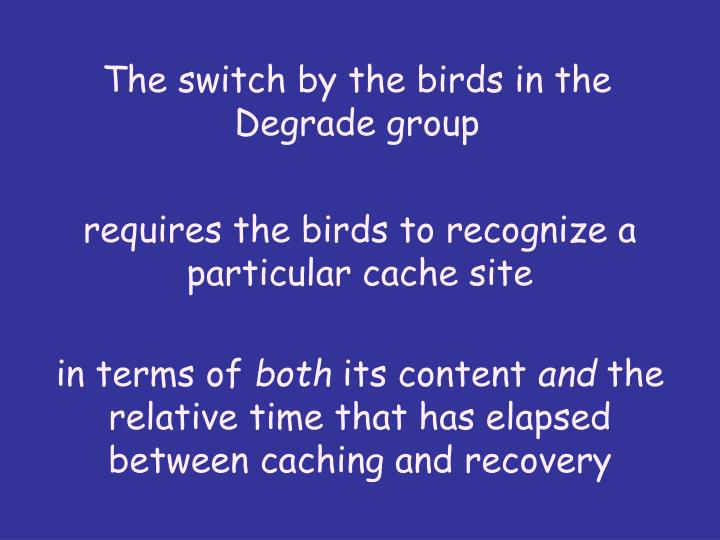 The switch by the birds in the Degrade group