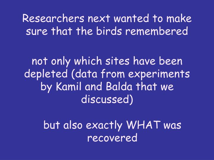 Researchers next wanted to make sure that the birds remembered