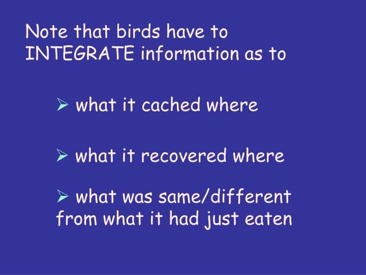 Note that birds have to INTEGRATE information as to