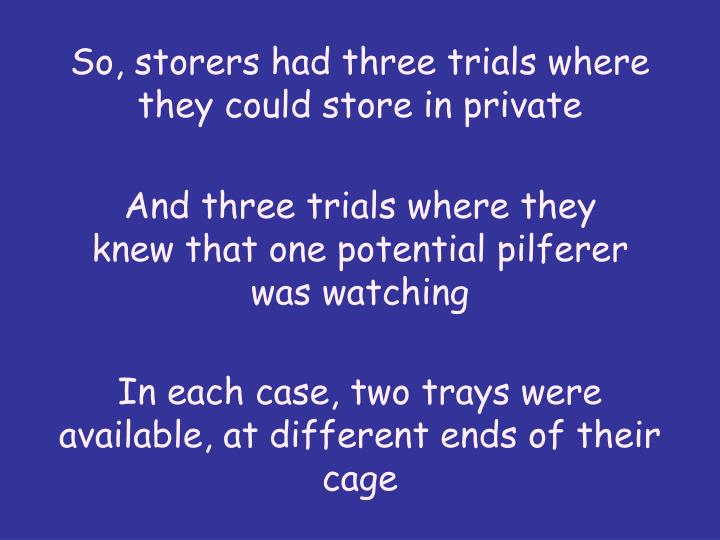So, storers had three trials where they could store in private